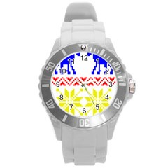 Jacquard With Elks Round Plastic Sport Watch (l)