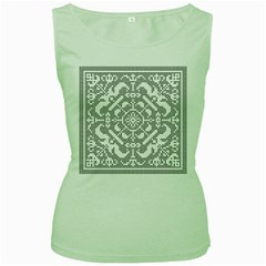 Mosaic Pattern Cyberscooty Museum Pattern Women s Green Tank Top