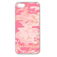 Pink Camo Print Apple Seamless Iphone 5 Case (clear) by Nexatart