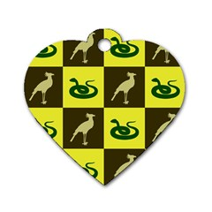 Bird And Snake Pattern Dog Tag Heart (one Side)