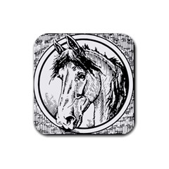 Framed Horse Rubber Square Coaster (4 Pack)  by Nexatart