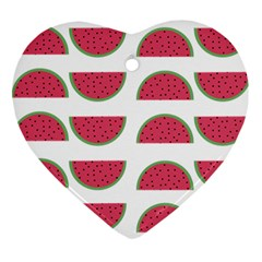 Watermelon Pattern Heart Ornament (two Sides) by Nexatart