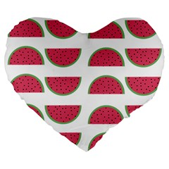 Watermelon Pattern Large 19  Premium Flano Heart Shape Cushions by Nexatart