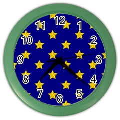 Star Pattern Color Wall Clocks by Nexatart