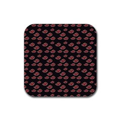 Cloud Red Brown Rubber Coaster (square)  by Mariart