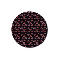 Cloud Red Brown Rubber Round Coaster (4 Pack)  by Mariart