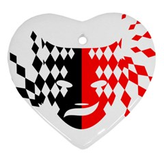 Face Mask Red Black Plaid Triangle Wave Chevron Ornament (heart) by Mariart