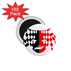 Face Mask Red Black Plaid Triangle Wave Chevron 1 75  Magnets (100 Pack)  by Mariart