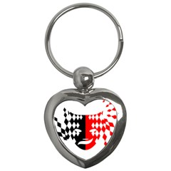 Face Mask Red Black Plaid Triangle Wave Chevron Key Chains (heart)  by Mariart