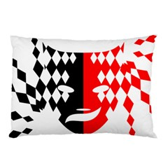 Face Mask Red Black Plaid Triangle Wave Chevron Pillow Case by Mariart