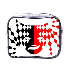 Face Mask Red Black Plaid Triangle Wave Chevron Mini Toiletries Bags by Mariart