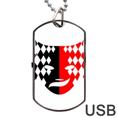 Face Mask Red Black Plaid Triangle Wave Chevron Dog Tag Usb Flash (two Sides) by Mariart