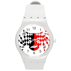 Face Mask Red Black Plaid Triangle Wave Chevron Round Plastic Sport Watch (m) by Mariart