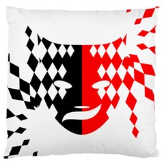 Face Mask Red Black Plaid Triangle Wave Chevron Large Cushion Case (one Side) by Mariart