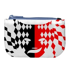 Face Mask Red Black Plaid Triangle Wave Chevron Large Coin Purse by Mariart
