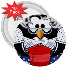 Grandma Penguin 3  Buttons (10 Pack)