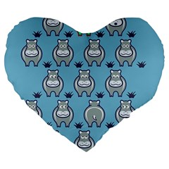 Funny Cow Pattern Large 19  Premium Heart Shape Cushions by Nexatart