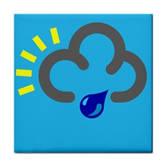 Light Rain Shower Cloud Sun Yellow Blue Sky Tile Coasters by Mariart