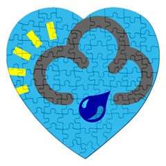 Light Rain Shower Cloud Sun Yellow Blue Sky Jigsaw Puzzle (heart) by Mariart