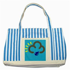 Light Rain Shower Cloud Sun Yellow Blue Sky Striped Blue Tote Bag by Mariart