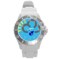 Light Rain Shower Cloud Sun Yellow Blue Sky Round Plastic Sport Watch (l) by Mariart
