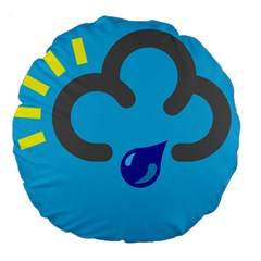 Light Rain Shower Cloud Sun Yellow Blue Sky Large 18  Premium Flano Round Cushions by Mariart
