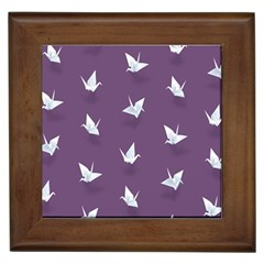 Goose Swan Animals Birl Origami Papper White Purple Framed Tiles by Mariart