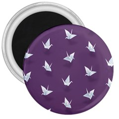 Goose Swan Animals Birl Origami Papper White Purple 3  Magnets by Mariart