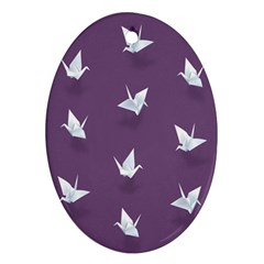 Goose Swan Animals Birl Origami Papper White Purple Ornament (oval) by Mariart