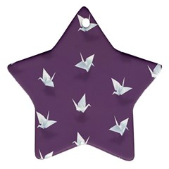 Goose Swan Animals Birl Origami Papper White Purple Ornament (star) by Mariart