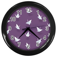 Goose Swan Animals Birl Origami Papper White Purple Wall Clocks (black) by Mariart