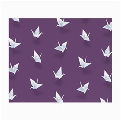 Goose Swan Animals Birl Origami Papper White Purple Small Glasses Cloth (2-side) by Mariart