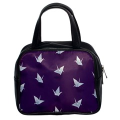 Goose Swan Animals Birl Origami Papper White Purple Classic Handbags (2 Sides) by Mariart