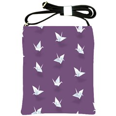 Goose Swan Animals Birl Origami Papper White Purple Shoulder Sling Bags by Mariart