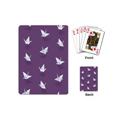 Goose Swan Animals Birl Origami Papper White Purple Playing Cards (mini)  by Mariart