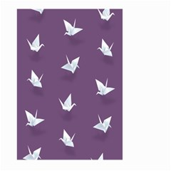 Goose Swan Animals Birl Origami Papper White Purple Large Garden Flag (two Sides) by Mariart