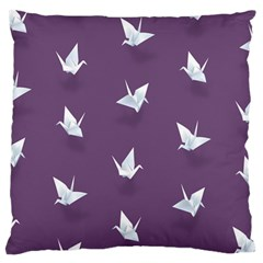 Goose Swan Animals Birl Origami Papper White Purple Large Cushion Case (two Sides) by Mariart