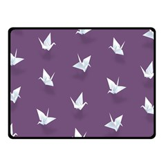Goose Swan Animals Birl Origami Papper White Purple Double Sided Fleece Blanket (small)  by Mariart