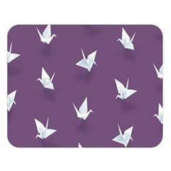 Goose Swan Animals Birl Origami Papper White Purple Double Sided Flano Blanket (large)  by Mariart