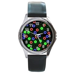 Neons Couleurs Circle Light Green Red Line Round Metal Watch
