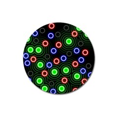 Neons Couleurs Circle Light Green Red Line Magnet 3  (round) by Mariart