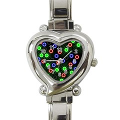 Neons Couleurs Circle Light Green Red Line Heart Italian Charm Watch by Mariart