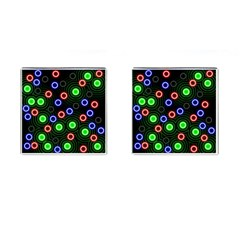 Neons Couleurs Circle Light Green Red Line Cufflinks (square) by Mariart