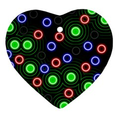 Neons Couleurs Circle Light Green Red Line Heart Ornament (two Sides) by Mariart