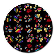 Colorful Paw Prints Pattern Background Reinvigorated Round Mousepads by Nexatart