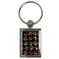 Colorful Paw Prints Pattern Background Reinvigorated Key Chains (rectangle)  by Nexatart