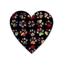 Colorful Paw Prints Pattern Background Reinvigorated Heart Magnet by Nexatart