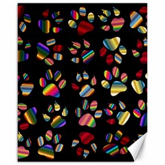 Colorful Paw Prints Pattern Background Reinvigorated Canvas 16  X 20   by Nexatart