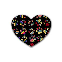 Colorful Paw Prints Pattern Background Reinvigorated Rubber Coaster (heart)
