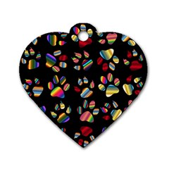 Colorful Paw Prints Pattern Background Reinvigorated Dog Tag Heart (one Side)